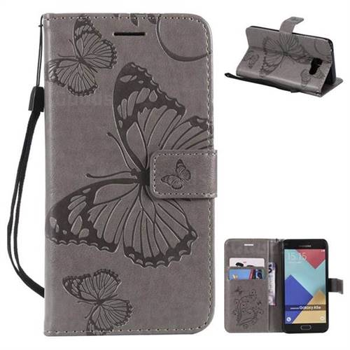 Embossing 3D Butterfly Leather Wallet Case for Samsung Galaxy A5 2016 A510 - Gray