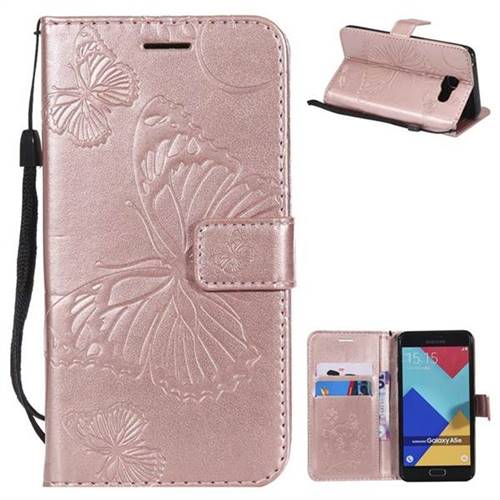 Embossing 3D Butterfly Leather Wallet Case for Samsung Galaxy A5 2016 A510 - Rose Gold