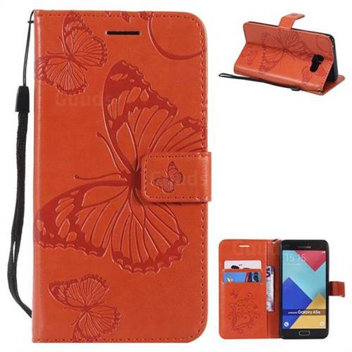 Embossing 3D Butterfly Leather Wallet Case for Samsung Galaxy A5 2016 A510 - Orange