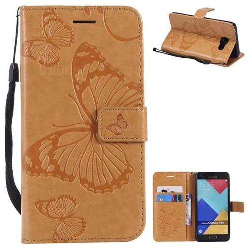 Embossing 3D Butterfly Leather Wallet Case for Samsung Galaxy A5 2016 A510 - Yellow