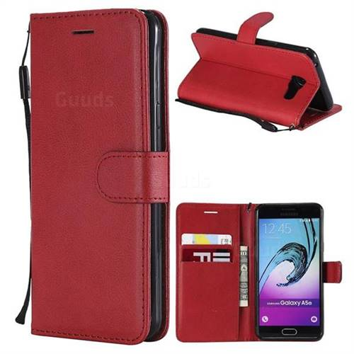 Retro Greek Classic Smooth PU Leather Wallet Phone Case for Samsung Galaxy A5 2016 A510 - Red