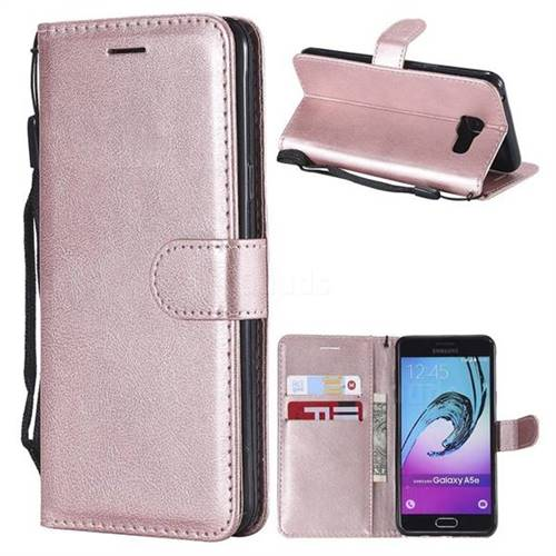 Retro Greek Classic Smooth PU Leather Wallet Phone Case for Samsung Galaxy A5 2016 A510 - Rose Gold