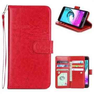 9 Card Photo Frame Smooth PU Leather Wallet Phone Case for Samsung Galaxy A5 2016 A510 - Red