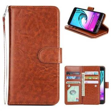 9 Card Photo Frame Smooth PU Leather Wallet Phone Case for Samsung Galaxy A5 2016 A510 - Brown