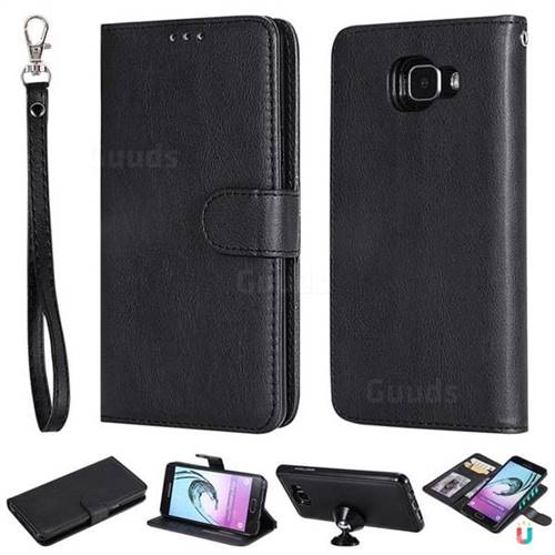 Retro Greek Detachable Magnetic PU Leather Wallet Phone Case for Samsung Galaxy A5 2016 A510 - Black