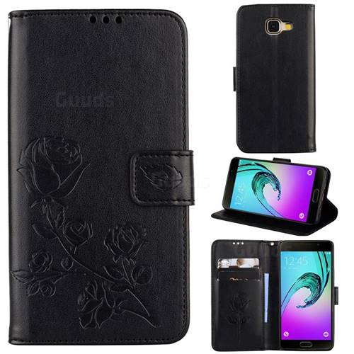 Embossing Rose Flower Leather Wallet Case for Samsung Galaxy A5 2016 A510 - Black