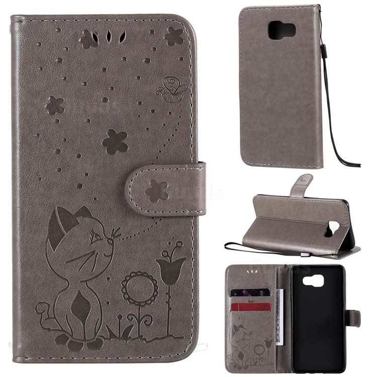 Embossing Bee and Cat Leather Wallet Case for Samsung Galaxy A5 2016 A510 - Gray