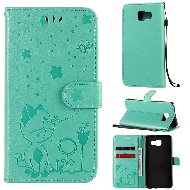 Embossing Bee and Cat Leather Wallet Case for Samsung Galaxy A5 2016 A510 - Green