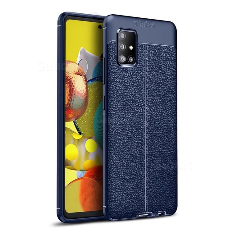 Luxury Auto Focus Litchi Texture Silicone TPU Back Cover for Samsung Galaxy A51 5G - Dark Blue