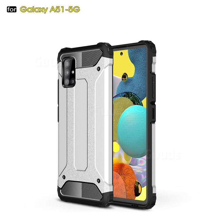 King Kong Armor Premium Shockproof Dual Layer Rugged Hard Cover for Samsung Galaxy A51 5G - White