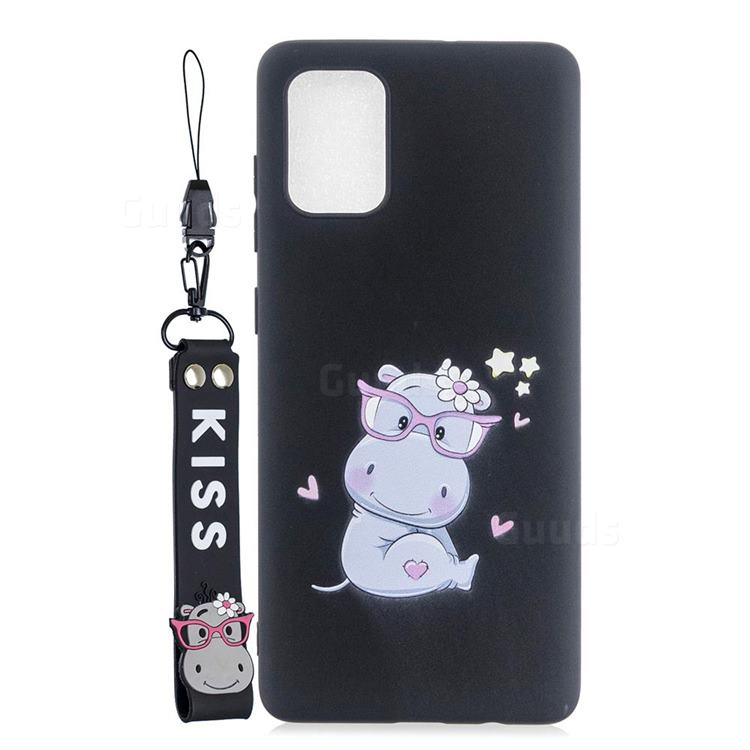 Black Flower Hippo Soft Kiss Candy Hand Strap Silicone Case for Samsung Galaxy A51 5G
