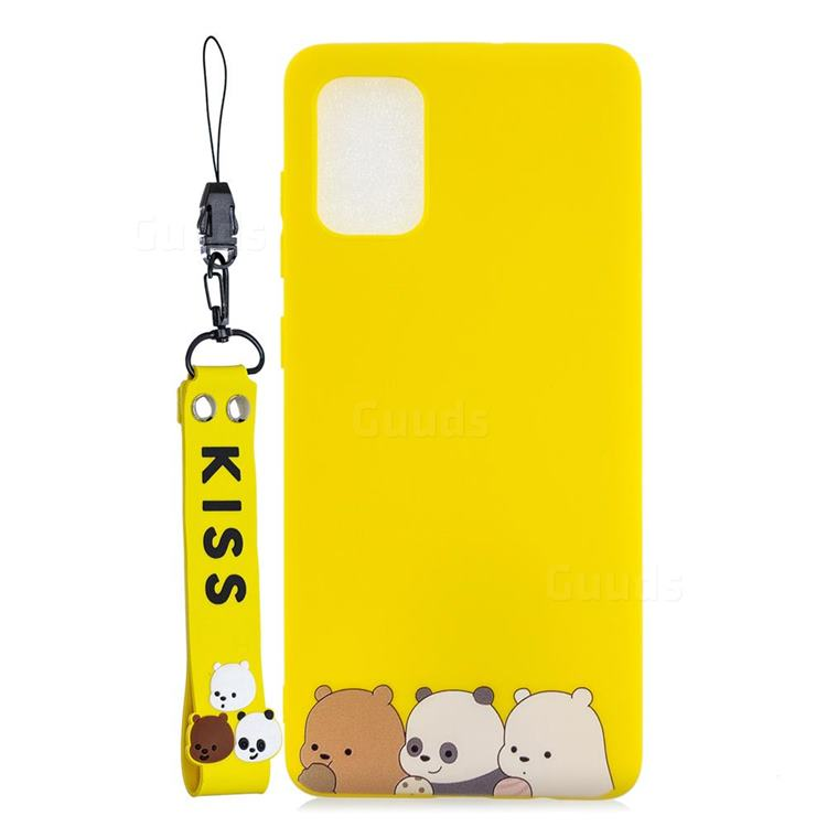 Yellow Bear Family Soft Kiss Candy Hand Strap Silicone Case for Samsung Galaxy A51 5G