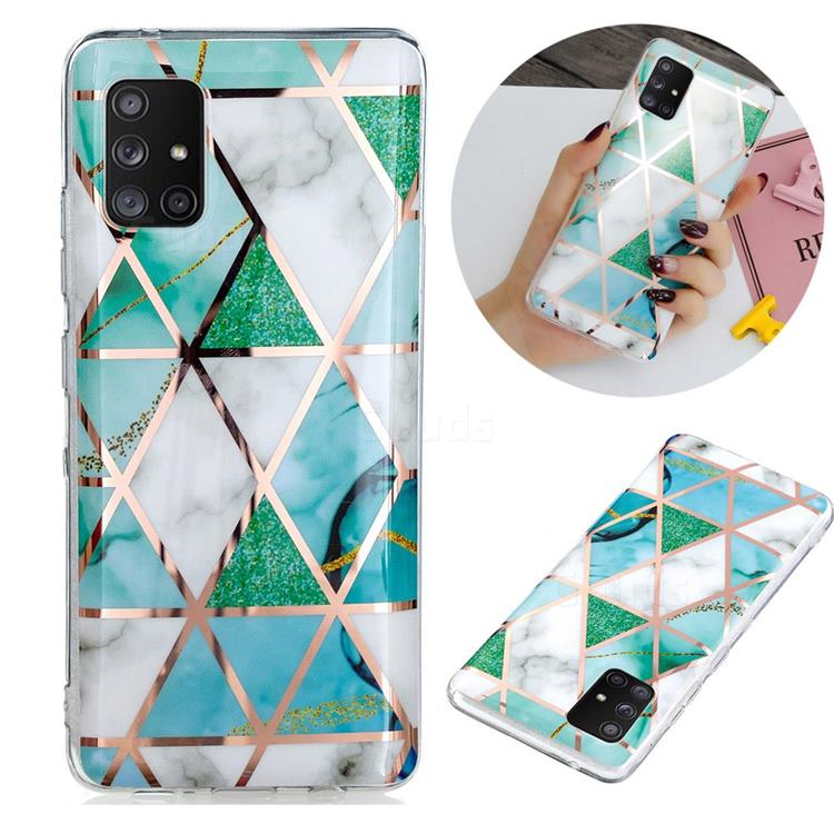 Green White Galvanized Rose Gold Marble Phone Back Cover for Samsung Galaxy A51 5G