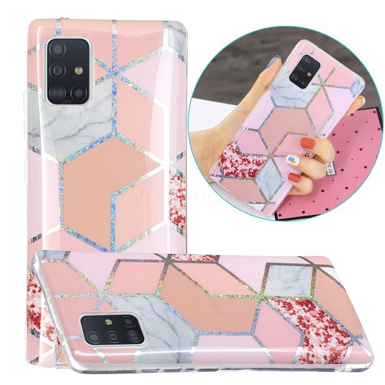 Pink Marble Painted Galvanized Electroplating Soft Phone Case Cover for Samsung Galaxy A51 5G
