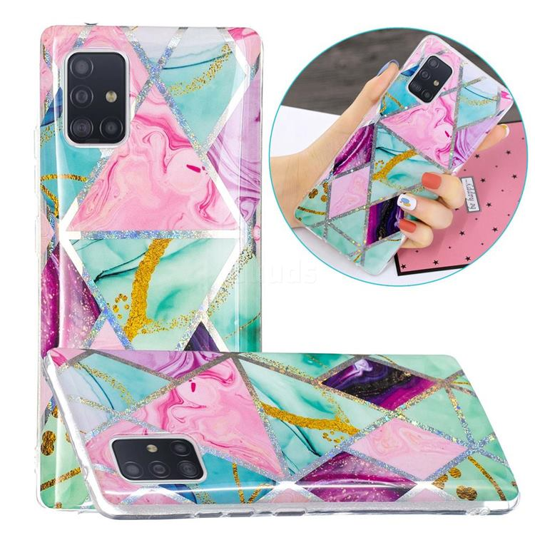 Triangular Marble Painted Galvanized Electroplating Soft Phone Case Cover for Samsung Galaxy A51 5G