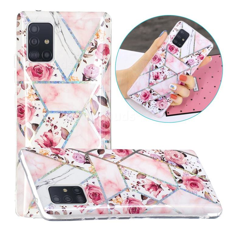 Rose Flower Painted Galvanized Electroplating Soft Phone Case Cover for Samsung Galaxy A51 5G
