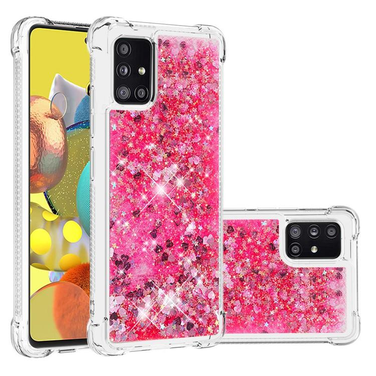 Dynamic Liquid Glitter Sand Quicksand TPU Case for Samsung Galaxy A51 5G - Pink Love Heart