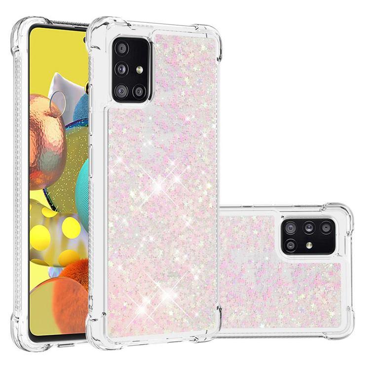 Dynamic Liquid Glitter Sand Quicksand TPU Case for Samsung Galaxy A51 5G - Silver Powder Star