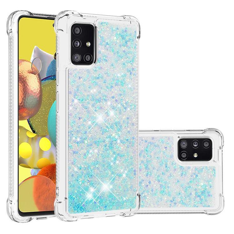 Dynamic Liquid Glitter Sand Quicksand TPU Case for Samsung Galaxy A51 5G - Silver Blue Star