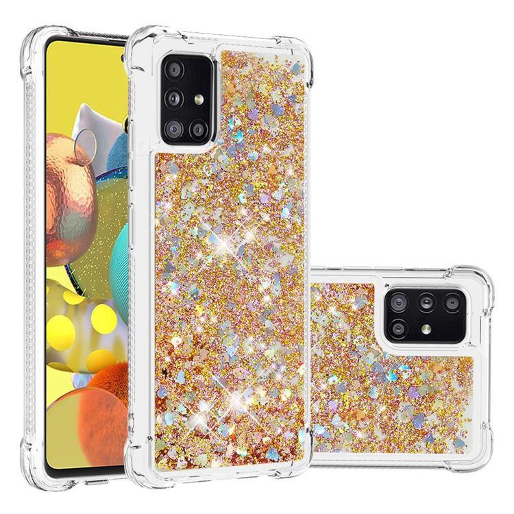 Dynamic Liquid Glitter Sand Quicksand TPU Case for Samsung Galaxy A51 5G - Rose Gold Love Heart