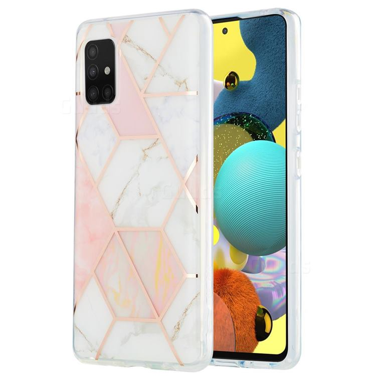 Pink White Marble Pattern Galvanized Electroplating Protective Case Cover for Samsung Galaxy A51 5G
