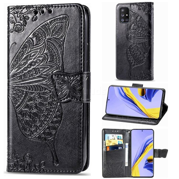 Embossing Mandala Flower Butterfly Leather Wallet Case for Samsung Galaxy A51 5G - Black