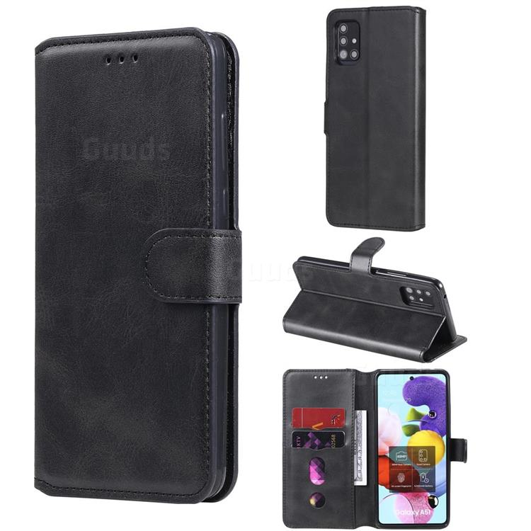 Retro Calf Matte Leather Wallet Phone Case for Samsung Galaxy A51 5G - Black