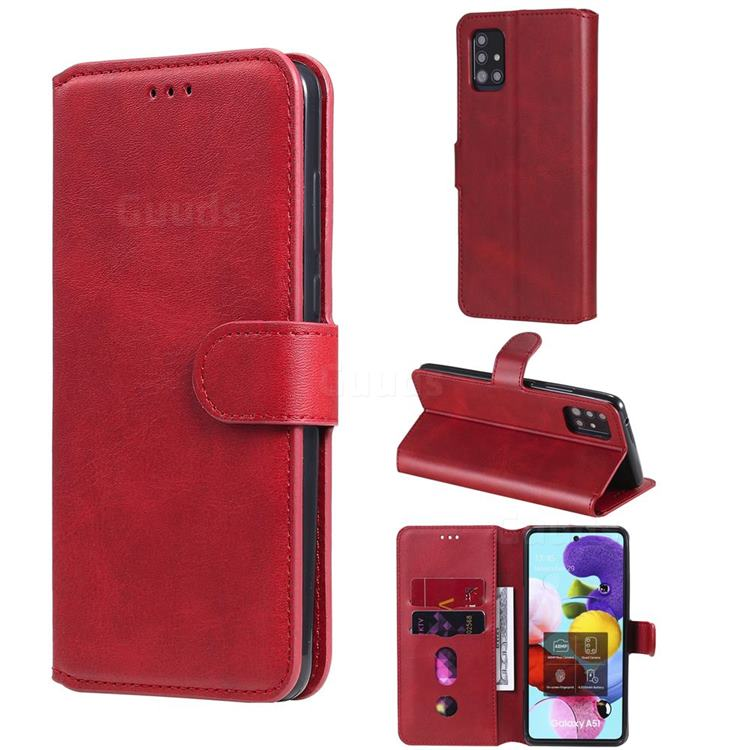 Retro Calf Matte Leather Wallet Phone Case for Samsung Galaxy A51 5G - Red