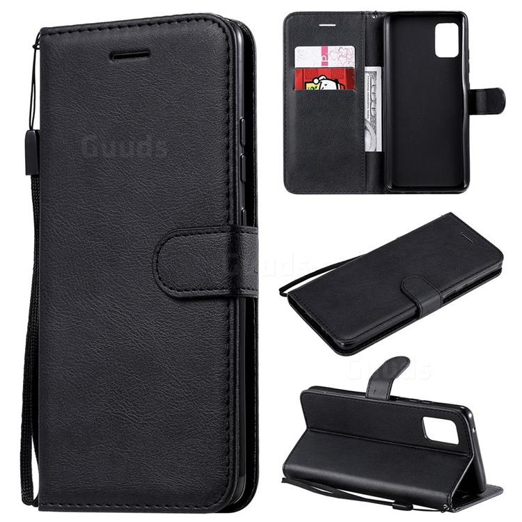 Retro Greek Classic Smooth PU Leather Wallet Phone Case for Samsung Galaxy A51 5G - Black