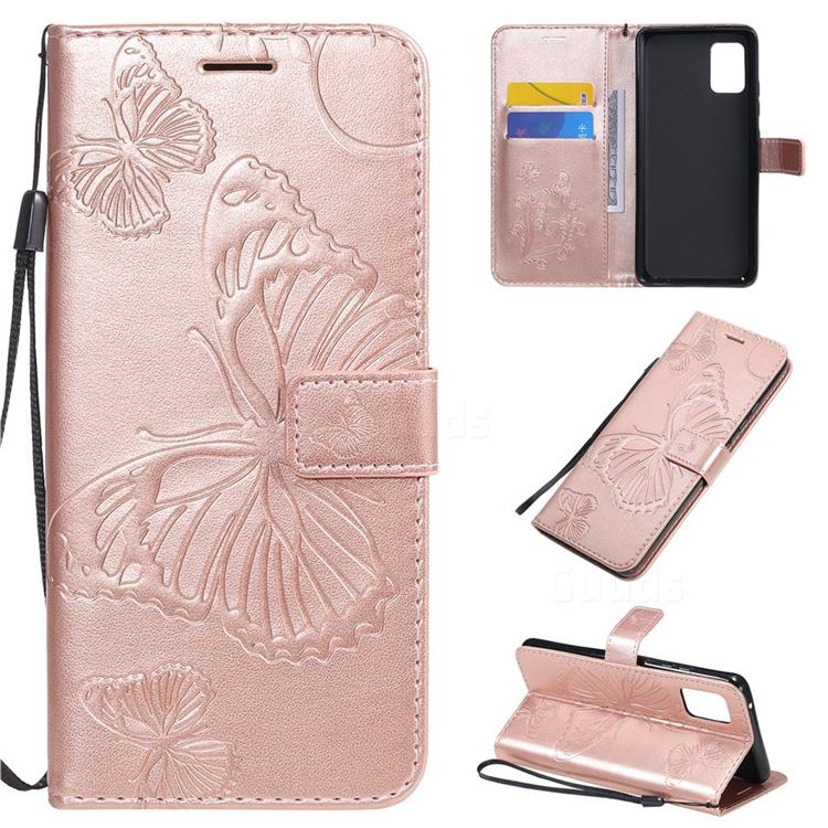 Embossing 3D Butterfly Leather Wallet Case for Samsung Galaxy A51 5G - Rose Gold