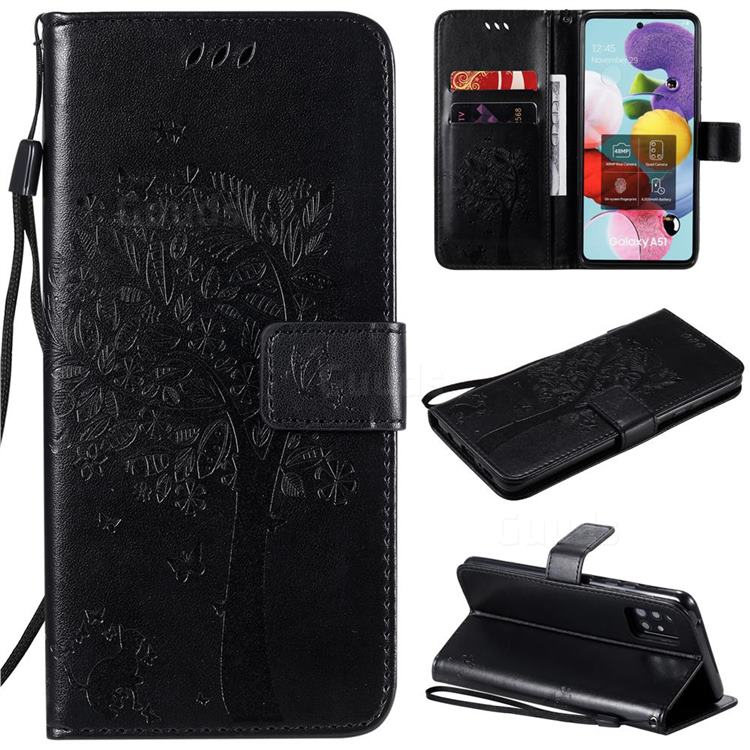 Embossing Butterfly Tree Leather Wallet Case for Samsung Galaxy A51 5G - Black