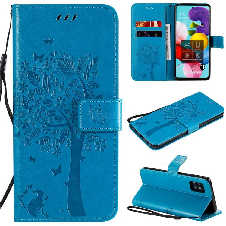 Embossing Butterfly Tree Leather Wallet Case for Samsung Galaxy A51 5G - Blue