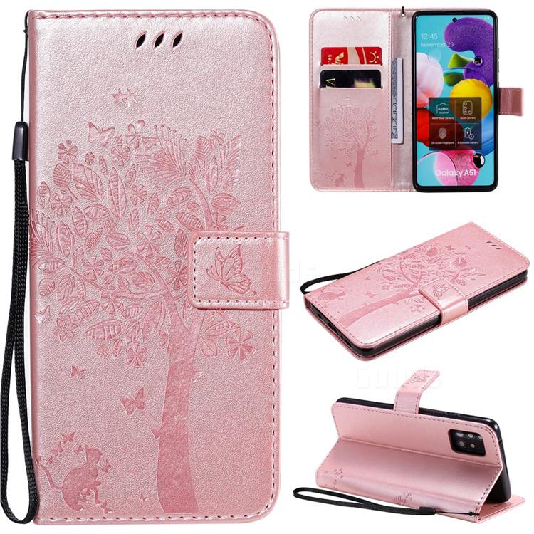 Embossing Butterfly Tree Leather Wallet Case for Samsung Galaxy A51 5G - Rose Pink