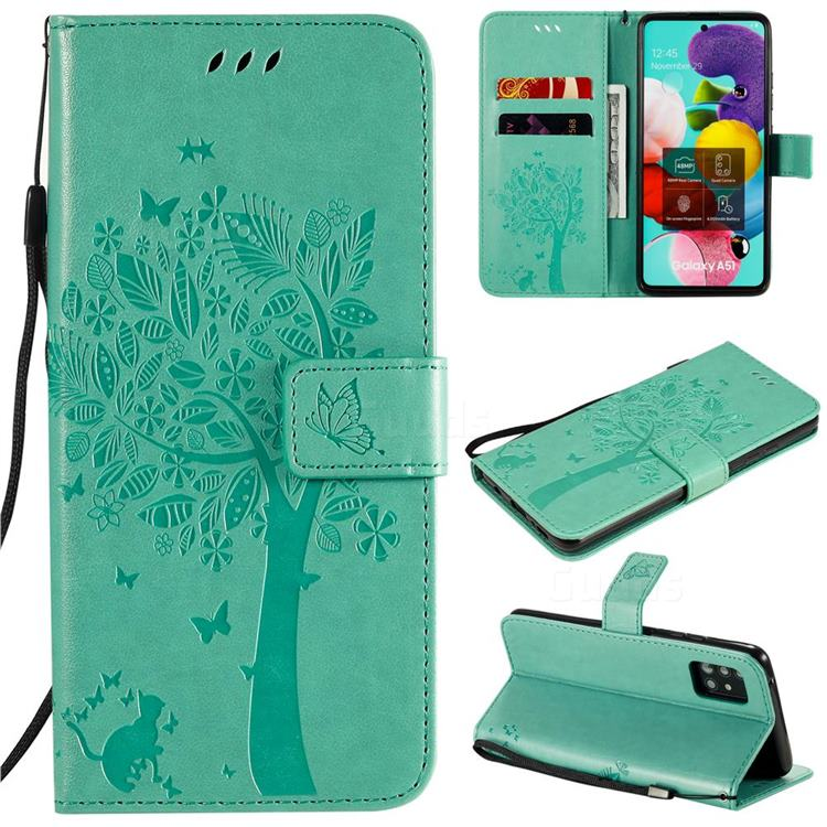 Embossing Butterfly Tree Leather Wallet Case for Samsung Galaxy A51 5G - Cyan