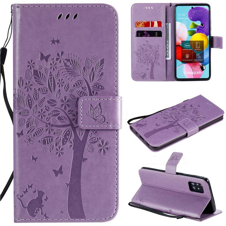 Embossing Butterfly Tree Leather Wallet Case for Samsung Galaxy A51 5G - Violet