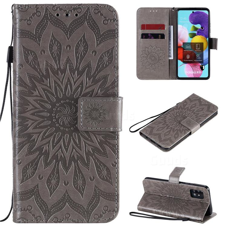 Embossing Sunflower Leather Wallet Case for Samsung Galaxy A51 5G - Gray