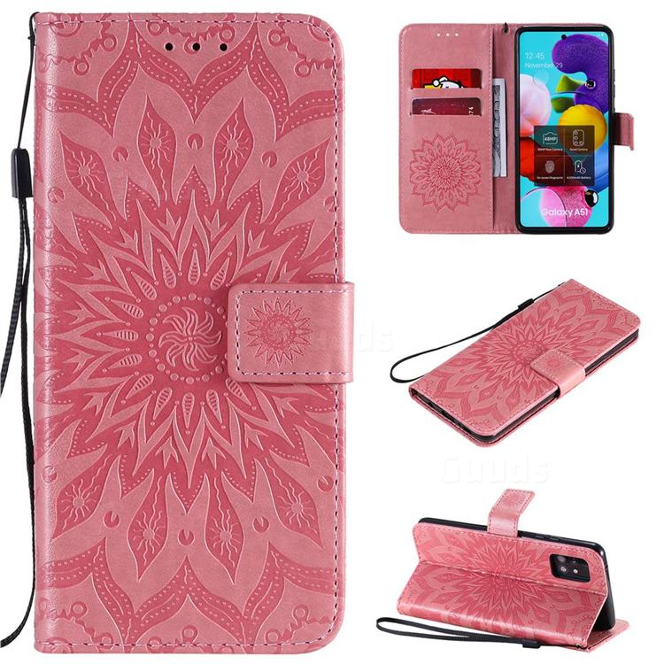 Embossing Sunflower Leather Wallet Case for Samsung Galaxy A51 5G - Pink