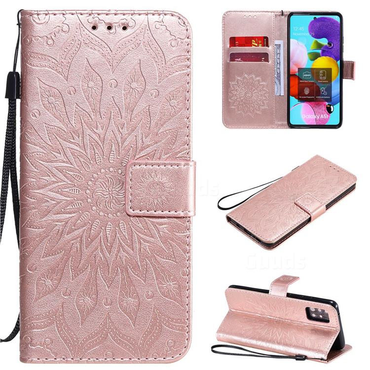 Embossing Sunflower Leather Wallet Case for Samsung Galaxy A51 5G - Rose Gold
