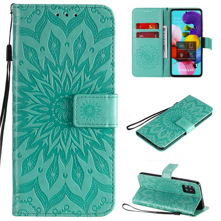 Embossing Sunflower Leather Wallet Case for Samsung Galaxy A51 5G - Green