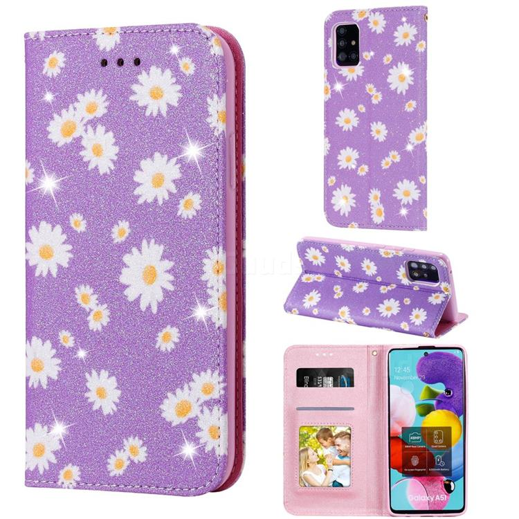 Ultra Slim Daisy Sparkle Glitter Powder Magnetic Leather Wallet Case for Samsung Galaxy A51 5G - Purple