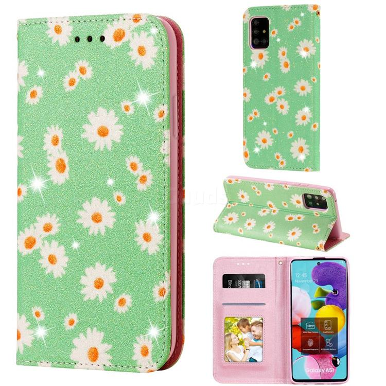 Ultra Slim Daisy Sparkle Glitter Powder Magnetic Leather Wallet Case for Samsung Galaxy A51 5G - Green