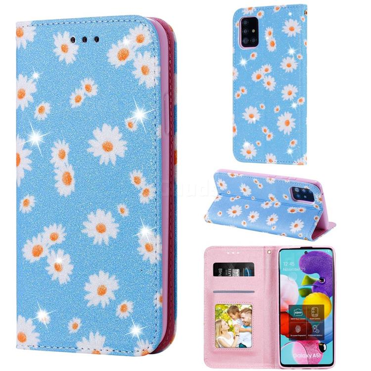Ultra Slim Daisy Sparkle Glitter Powder Magnetic Leather Wallet Case for Samsung Galaxy A51 5G - Blue
