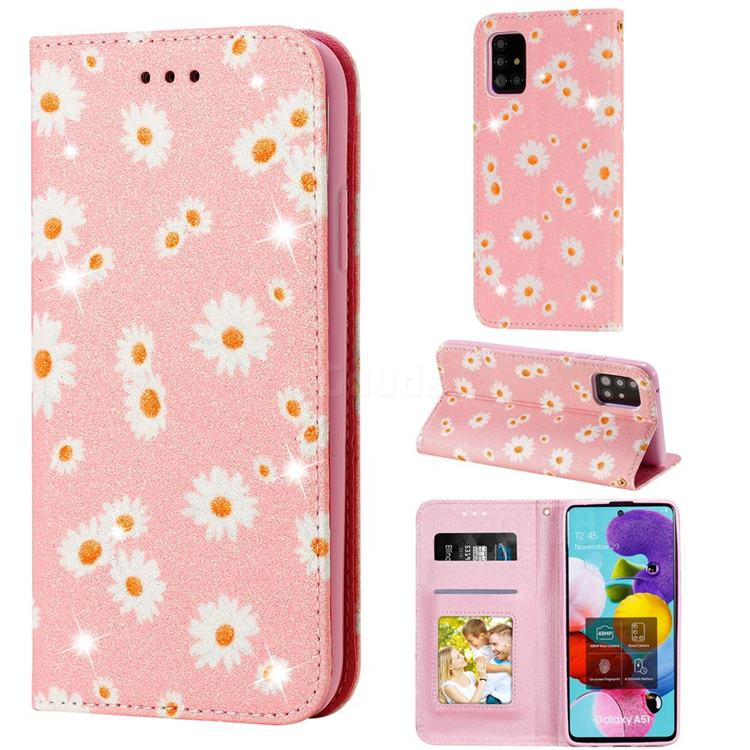Ultra Slim Daisy Sparkle Glitter Powder Magnetic Leather Wallet Case for Samsung Galaxy A51 5G - Pink