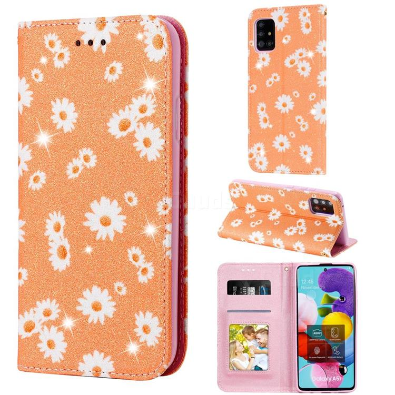 Ultra Slim Daisy Sparkle Glitter Powder Magnetic Leather Wallet Case for Samsung Galaxy A51 5G - Orange