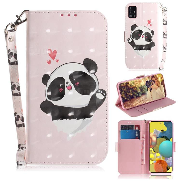 Heart Cat 3D Painted Leather Wallet Phone Case for Samsung Galaxy A51 5G
