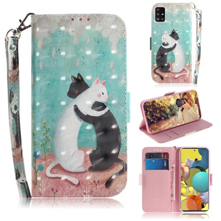 Black and White Cat 3D Painted Leather Wallet Phone Case for Samsung Galaxy A51 5G