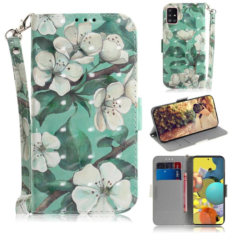 Watercolor Flower 3D Painted Leather Wallet Phone Case for Samsung Galaxy A51 5G