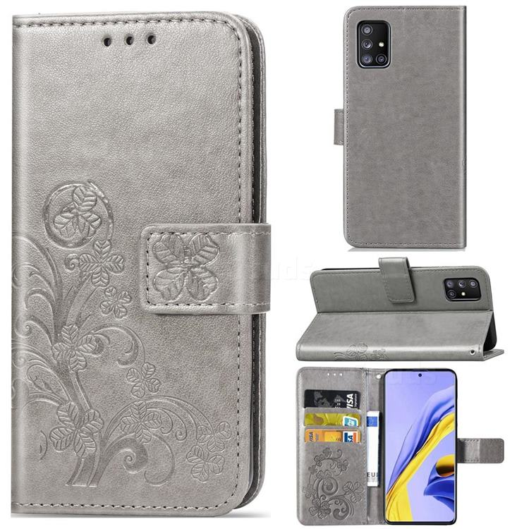 Embossing Imprint Four-Leaf Clover Leather Wallet Case for Samsung Galaxy A51 5G - Grey