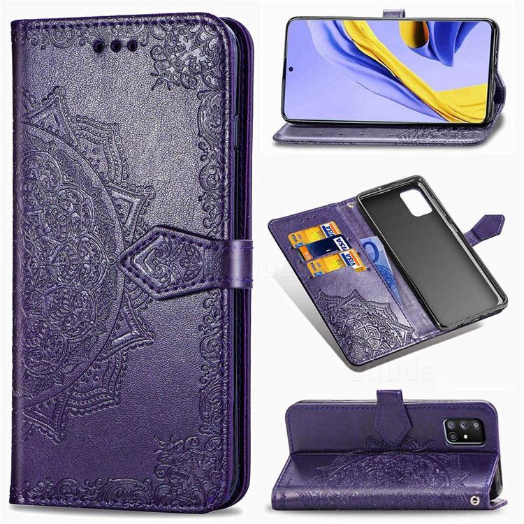 Embossing Imprint Mandala Flower Leather Wallet Case for Samsung Galaxy A51 5G - Purple