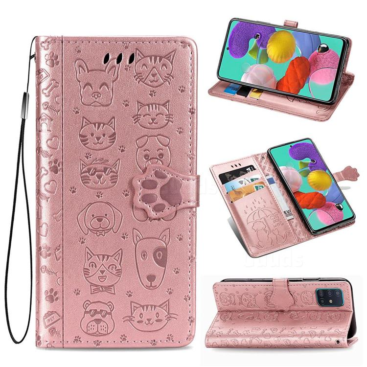 Embossing Dog Paw Kitten and Puppy Leather Wallet Case for Samsung Galaxy A51 5G - Rose Gold